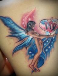 肩部彩色天使精灵翅膀纹身图片纹身图案