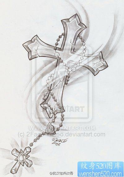 简单的十字架纹身手稿图案