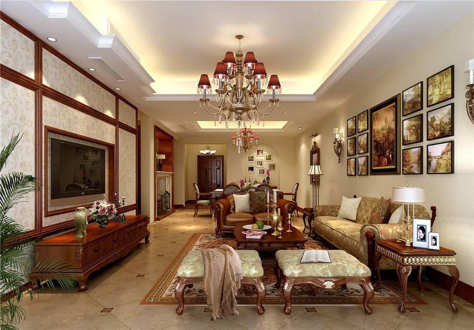 美式美式风格客厅跃层吊顶电视背景墙装修图图片