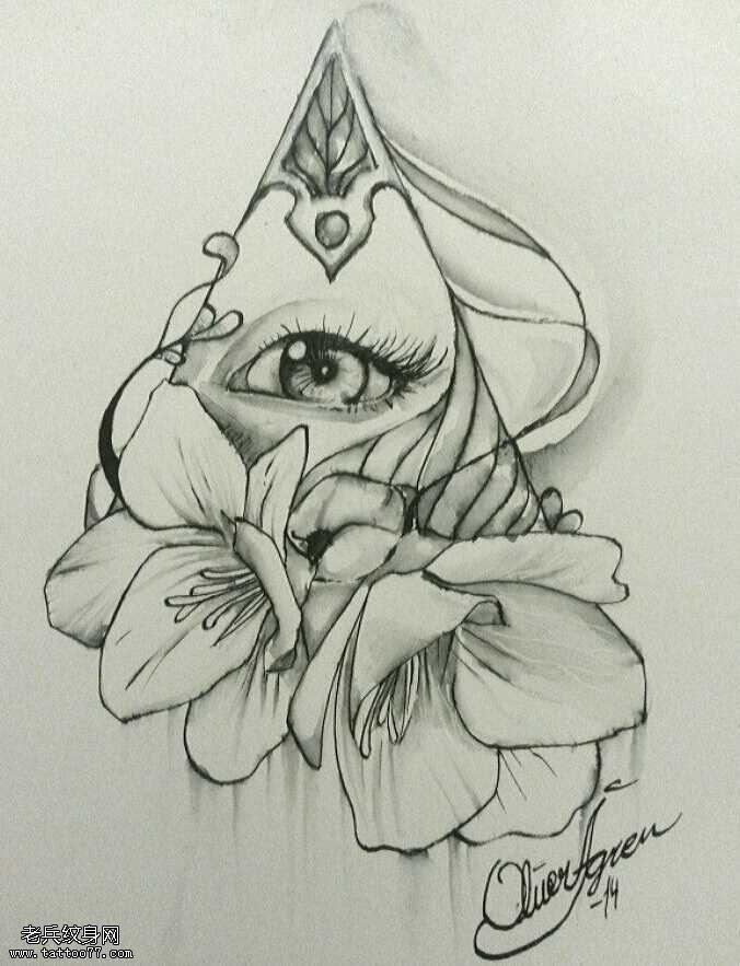 手稿上帝之眼玫瑰纹身图案