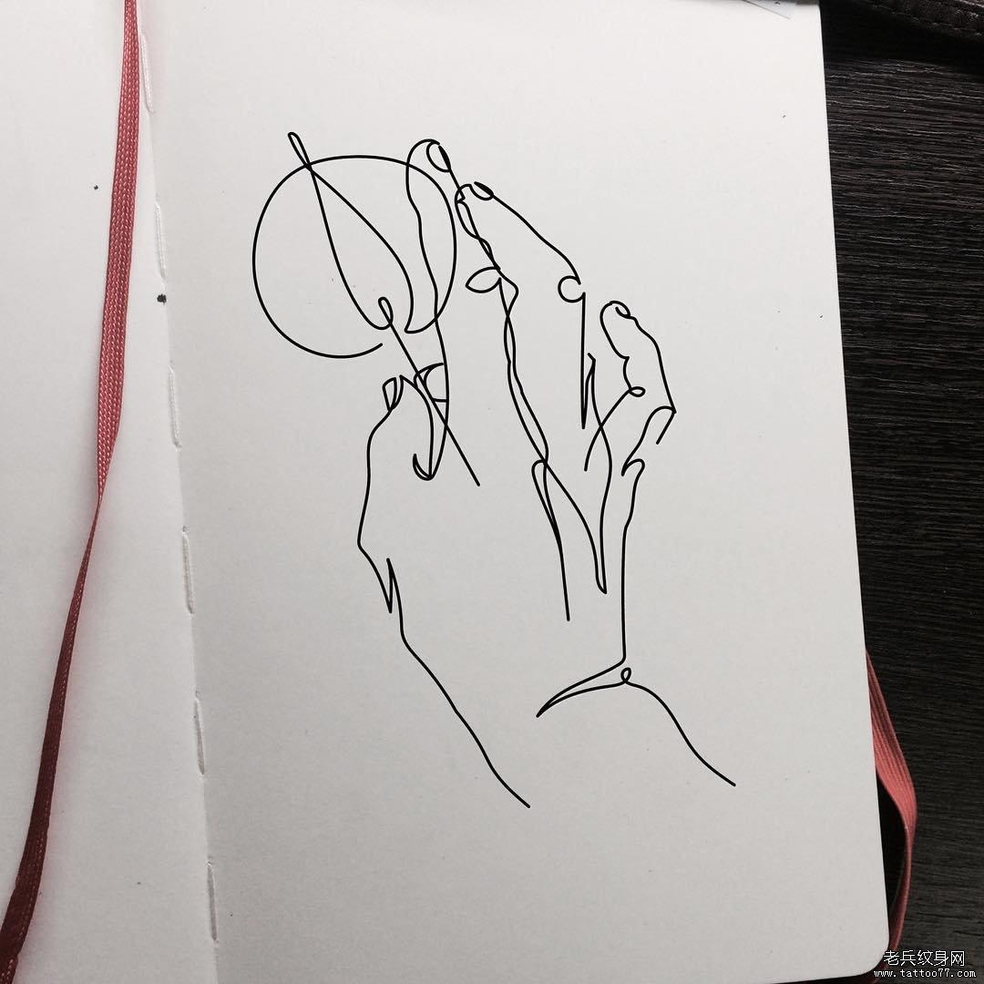 抽象简单线条手纹身图案手稿