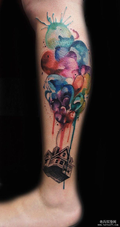 小腿气球彩色泼墨纹身图案