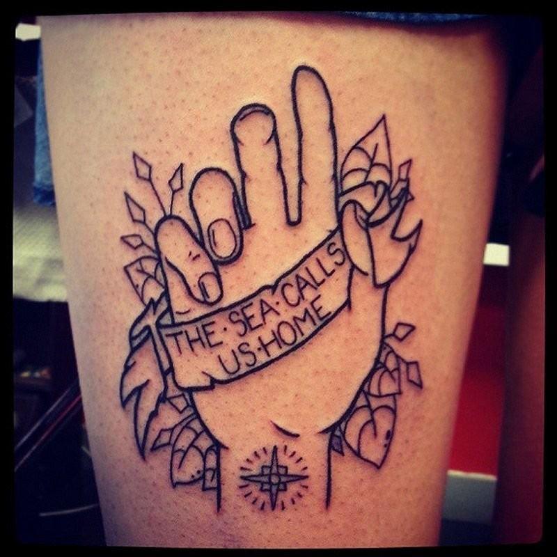 大腿黑色线条手字母与玫瑰纹身图案