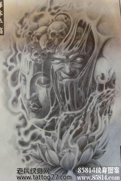 一款佛与恶魔的纹身手稿