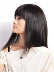 纯美女生自然黑长发发型图片[5P]