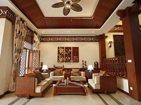 红色雅致新中式风格别墅装修设计