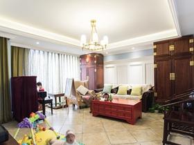 104平米中式古典清新三居装修效果图