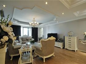 浪漫白色欧式客厅吊顶设计