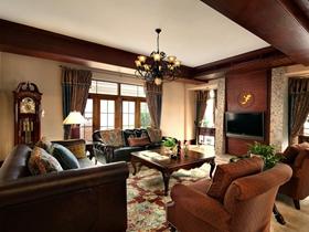 美式米色雅致客厅吊顶设计图