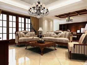 米色歐式客廳吊頂效果圖設計