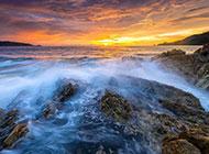 夕阳下的大海高清风景图片