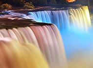 祖国的美丽彩色瀑布桥小溪山林景色
