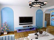 蓝色地中海风格公寓装修效果图