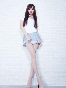 腿模celia欣潔清新職業裝短裙肉絲長腿