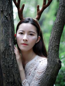 麋鹿少女叢林意境寫真純凈可人