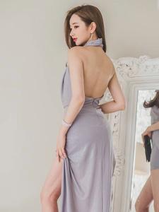 氣質美模美背長裙高跟修長美腿迷人