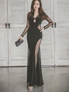 黑纱礼裙美模大秀娇躯惊艳气质满分