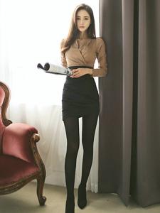 韩系美女黑丝美腿写真气质迷人