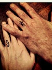 平安彩票网恋人手指关节上的各种指环纹身图案
