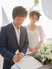 鄭鈞劉蕓馬爾代夫婚禮照