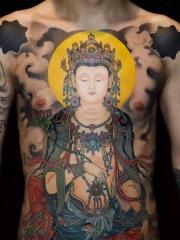 男士胸前彩色霸气佛观音纹身图案