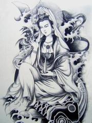 慈祥的观音菩萨纹身手稿图
