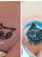 两款可爱的猫脸纹身图片女生小清新纹身