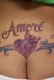 后腰彩色心形蝴蝶结字母纹身图案