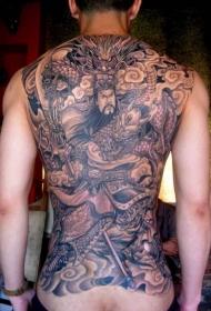 满背关公龙纹身图案