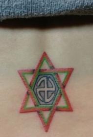女孩子腰部彩色图腾六芒星纹身图案