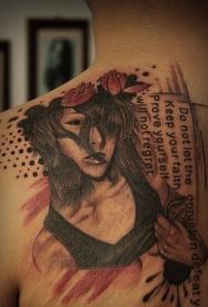 背部欧平安彩票app性和字母花蕊纹身图案