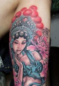 小腿上的性感京剧花旦纹身图案