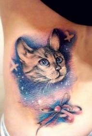腰部彩色星空貓咪蝴蝶結紋身圖案