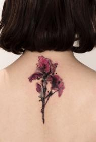 平安彩票app后背水墨花卉纹身图案