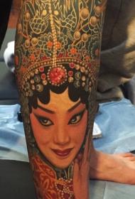 腿部笑靥如花的花旦彩绘纹身图案