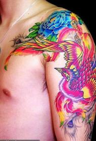 披肩彩色凤凰花朵纹身图案