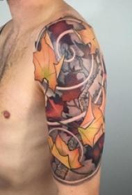象征着秋天到来的植物素材叶子纹身图案