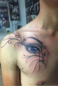 男性胸部逼真的眼睛藤蔓紋身圖案