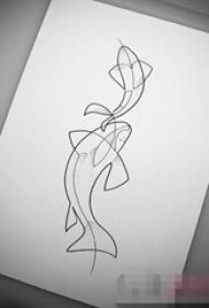 黑色線條素描創意個性小動物海豚紋身手稿