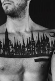 黑色素描古典建筑平安彩票开奖网纹身图案