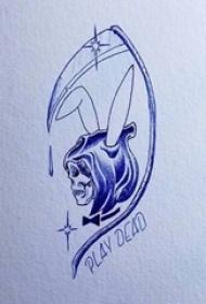 恐怖的點刺技巧簡單線條骷髏和鐮刀死神紋身手稿