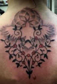 女生背部黑灰素描点刺技巧文艺藤蔓唯美纹身图片