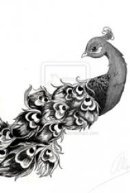 黑灰素描創意動物唯美孔雀紋身手稿
