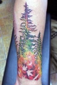 关于大自然的抽象线条植物树和山水风景纹身图案