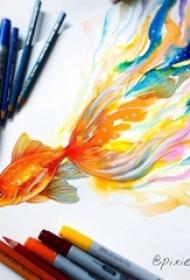 彩绘水彩创意抽象七彩水墨金鱼纹身手稿