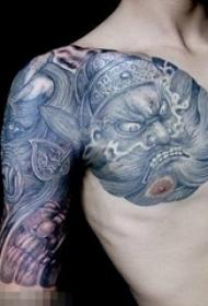 浩然正氣的抽象線條傳統人物鐘馗紋身圖案
