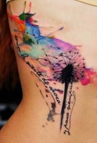 女生側腰上黑色線條水彩潑墨蒲公英紋身圖片