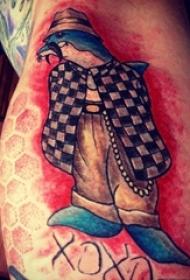 男生大腿上彩绘点刺几何线条小动物海豚纹身图片