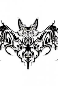 黑灰素描創意精致霸氣蝙蝠紋身手稿