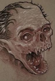 奇特又别致的黑灰点刺抽象线条怪物纹身手稿